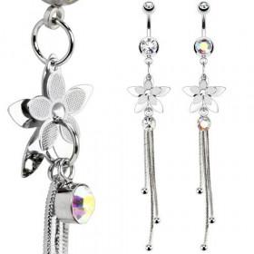 Piercing nombril en acier chirurgical avec Cristal chaine Petales de Fleur longue chaine pendant