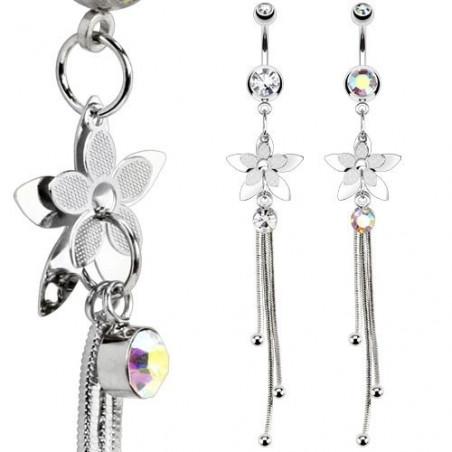 Piercing nombril Cristal chaine Petales de Fleur