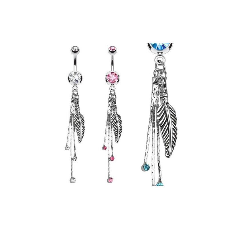 Piercing nombril en acier chirurgical pendant long motif plume avec cristal de couleur