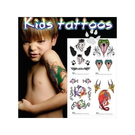 Tatouages temporaires enfants Animaux Pack 2