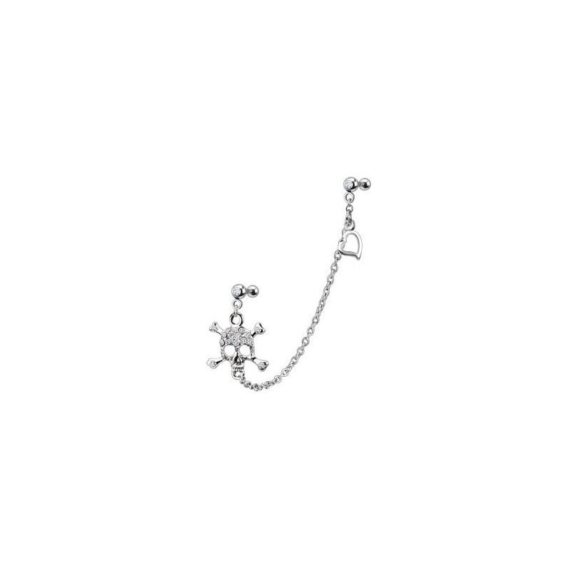 Double Piercing oreille cartilage et tragus en acier chirurgical chaine Tête de mort cristal blanc