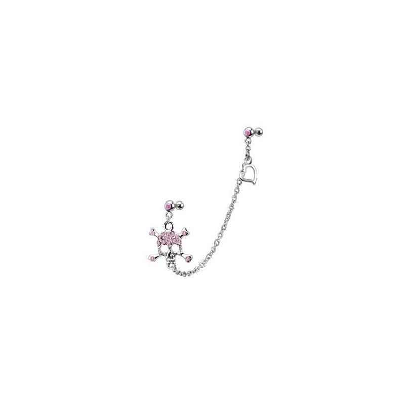 Double Piercing oreille cartilage et tragus en acier chirurgical chaine Tête de mort cristal rose