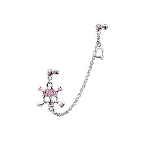 Double Piercing oreille chaine Tête de mort couleur rose