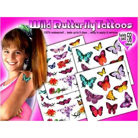 Tatouages autocollants Papillons