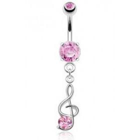 Piercing nombril en acier chirurgical pendentif Clef de sol cristal Rose
