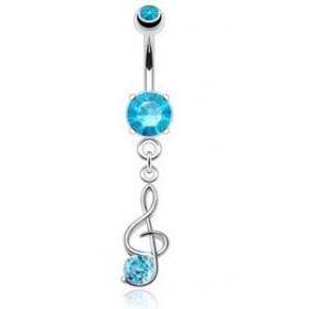 Piercing nombril en acier chirurgical pendentif Clef de sol cristal couleur Bleu turquoise