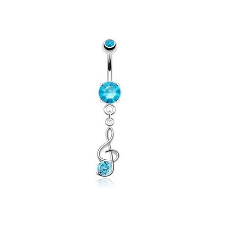 Piercing nombril Clef de sol cristal Bleu