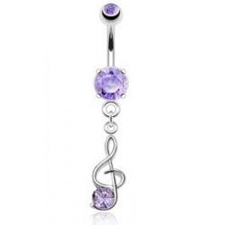 Piercing nombril Clef de sol cristal Violet