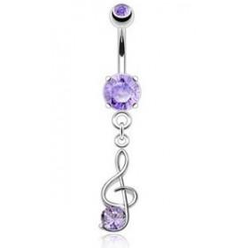 Piercing nombril en acier chirurgical pendantif articulé Clef de sol cristal couleur Violet