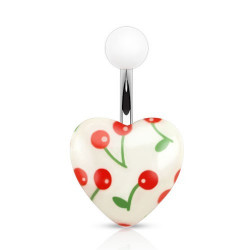 Piercing nombril Coeur logo cerise