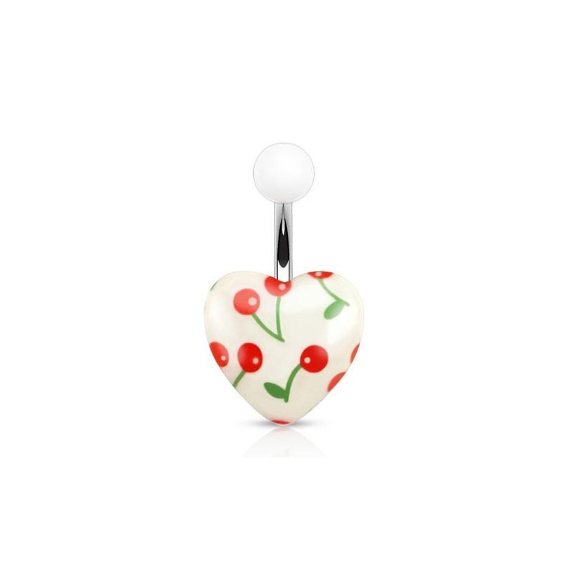 Piercing nombril barre acier chirurgical Coeur en acrylique blanc logo cerise