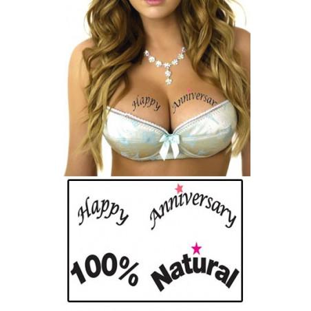 Tatouages temporaires décolletés Happy Anniversaire et 100% Natural