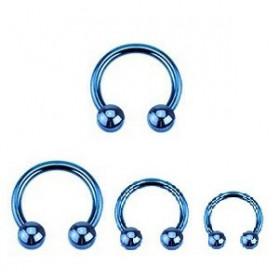 vente de Piercing Fer Titane 1.2mm bille 3mm piercing labret acier bleu fer a cheval titane anodisé couleur bleu