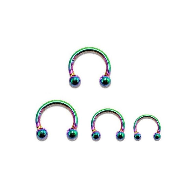 vente de Piercing Fer Titane 1.2mm bille 3mm piercing labret acier essence fer a cheval titane anodisé couleur fioul