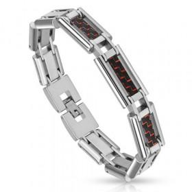 Bracelet homme Acier imitation Fibre de carbonne rouge