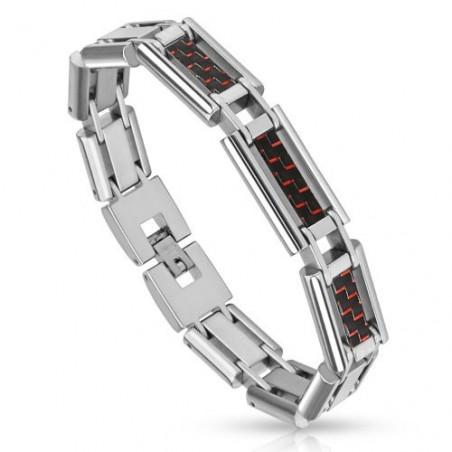 Bracelet Acier imitation Fibre de carbonne rouge