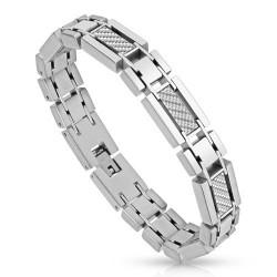 Bracelet Homme Acier imitation carbonne
