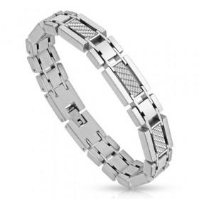 Bracelet Homme Acier chirurgical inoxydable de qualité imitation carbonne