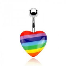 Piercing nombril acier chirurgical Coeur couleur Gay Pride