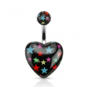 Piercing nombril barre acier chirurgical Coeur noir en acrylique logo étoile multicolore
