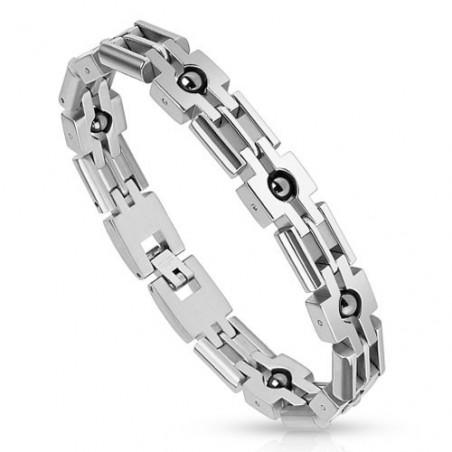Bracelet homme acier bille noir