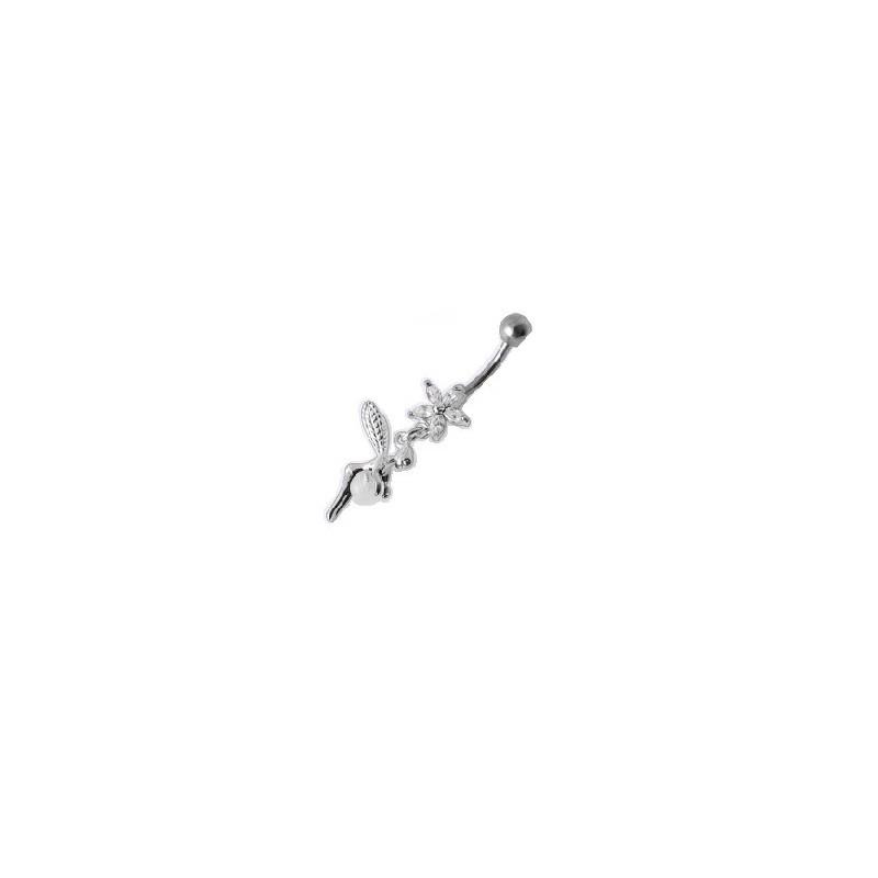 Piercing nombril pedndant en Argent massif 925 motif Fée cristal blanc