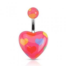 Piercing nombril en acier chirurgical Coeur en acrylique logo coeur