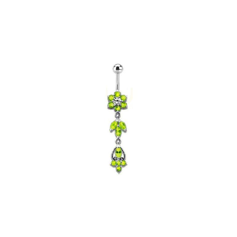 Piercing nombril longue fleur pendante Fleur verte en argent massif 925 barre en acier chirurgical