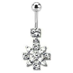 Piercing nombril Fleur en argent cristal Blanc
