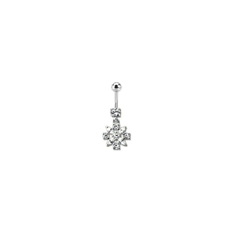Piercing nombril articuler Fleur en argent cristal Blanc barre en acier chirurgical