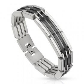 Bracelet gourmette pour homme en acier Bicolores argent et noir pas cher