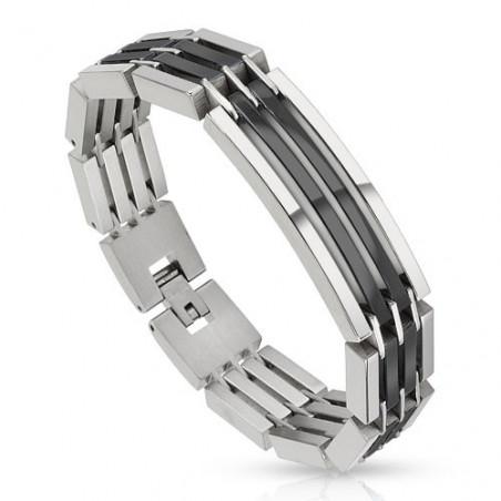 Bracelet homme en acier Bicolores argent et noir
