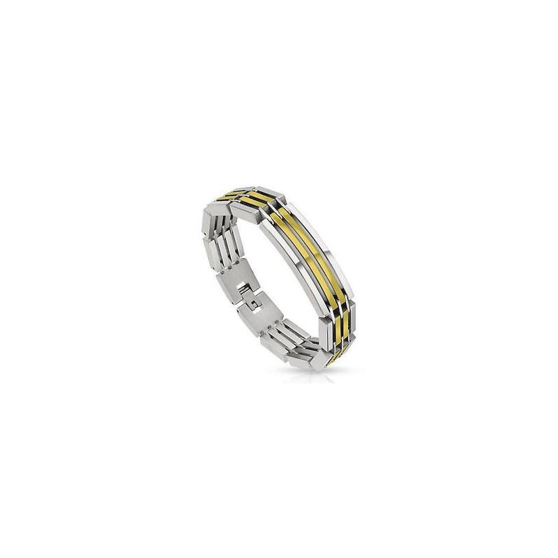 Bracelet homme en acier inoxydable de qualité couleur or et argent