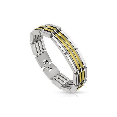 Bracelet homme en acier Bicolores argent et doré