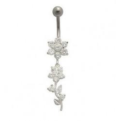Piercing nombril pendentif Fleur en argent