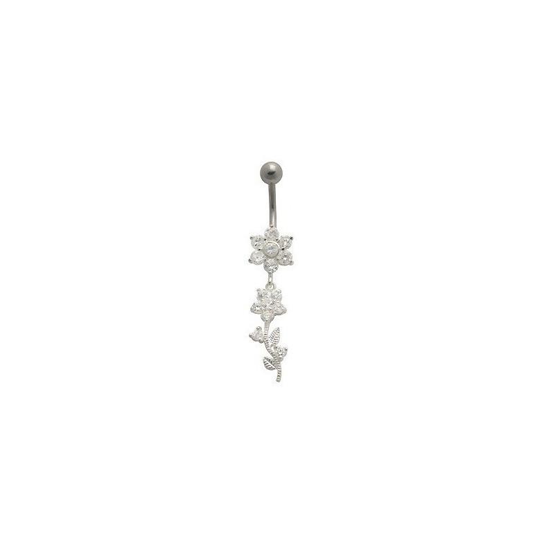 Piercing nombril pendant motif Fleur en argent massif 925 barre en acier chirurgical