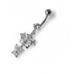 Piercing nombril pendant motif couronne argent et cristal