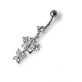 Piercing nombril pendant motif argent massif  et cristal barre acier chirurgical
