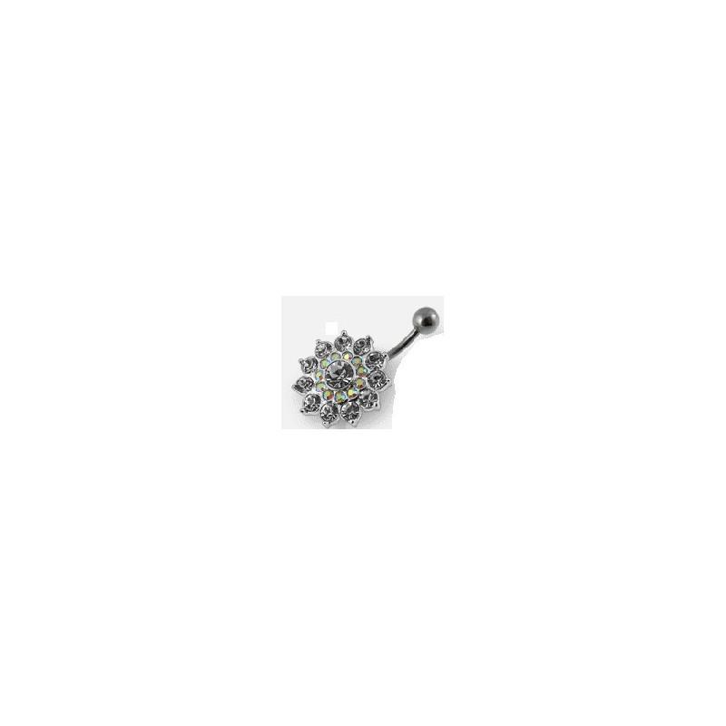 Piercing nombril argent massif fleur cristal blanc barre acier chirurgical