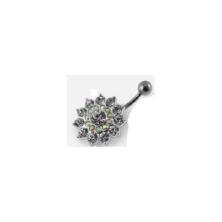 Piercing nombril argent fleur cristal blanc