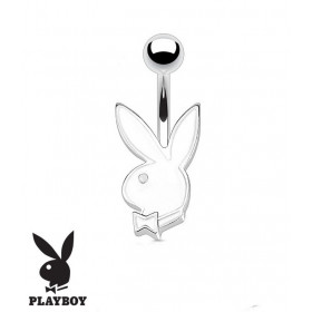 Piercing nombril de la marque Playboy couleur blanc tige finne de 1.2 mm de diamètre