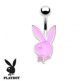 Piercing nombril de la marque Playboy couleur rose tige finne de 1.2 mm de diamètre