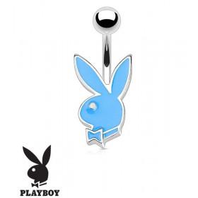 Piercing nombril de la marque Playboy couleur bleu tige finne de 1.2 mm de diamètre