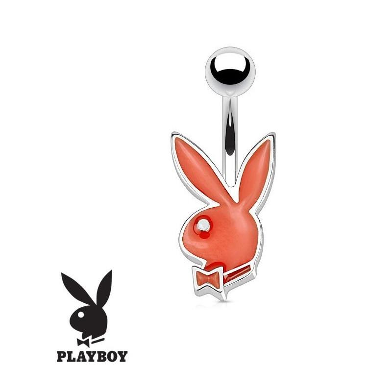 Piercing nombril de la marque Playboy couleur rouge tige finne de 1.2 mm de diamètre