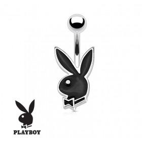 Piercing nombril de la marque Playboy couleur noir tige finne de 1.2 mm de diamètre