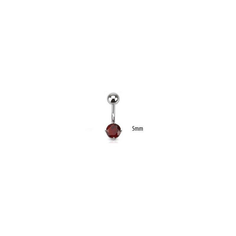 Piercing nombril acier chirurgical solitaire cristal oxyde de zirconium de 5 mm couleur rouge