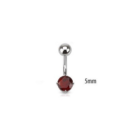 Piercing nombril solitaire rouge 5mm