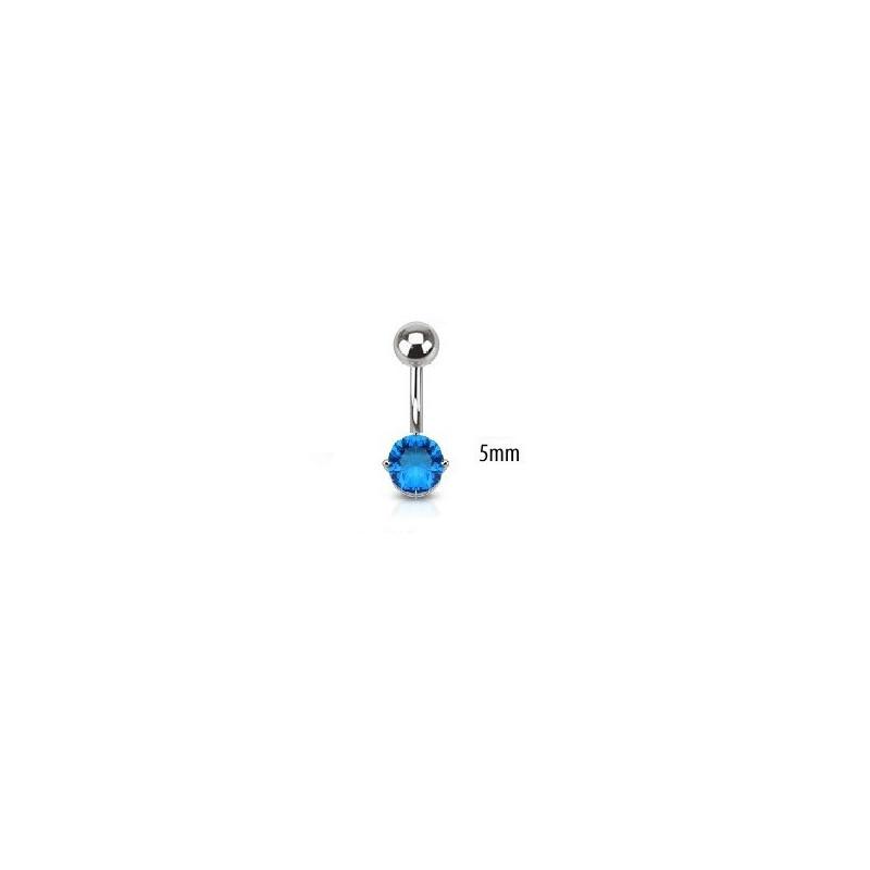 Piercing nombril acier chirurgical solitaire cristal oxyde de zirconium de 5 mm couleur bleu turquoise