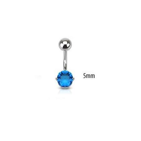 Piercing nombril solitaire turquoise 5mm