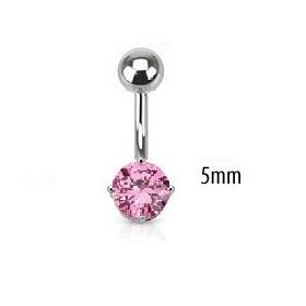 Piercing nombril acier chirurgical solitaire cristal oxyde de zirconium de 5 mm couleur rose